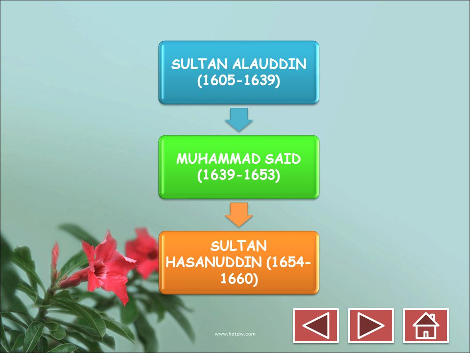 SULTAN ALAUDDIN (1605-1639) MUHAMMAD SAID (1639-1653) SULTAN HASANUDDIN (1654-1660)