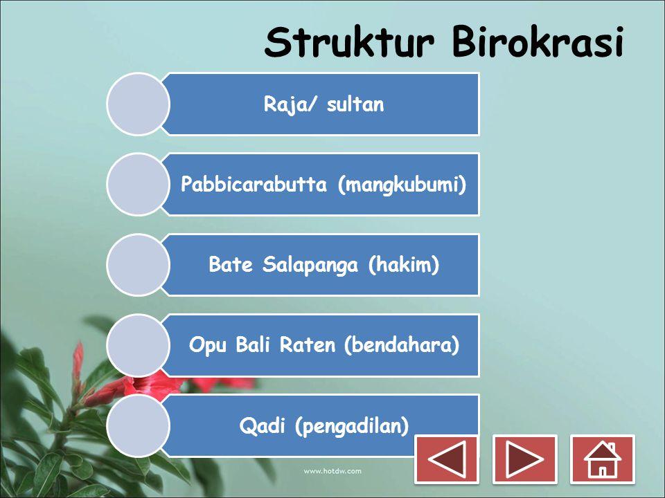 Struktur Birokrasi Raja/ sultan Pabbicarabutta (mangkubumi)