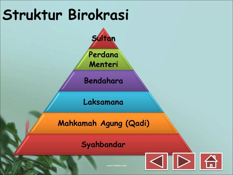 Struktur Birokrasi Sultan Perdana Menteri Bendahara Laksamana