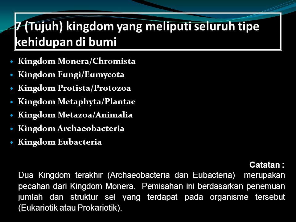 7 (Tujuh) kingdom yang meliputi seluruh tipe kehidupan di bumi