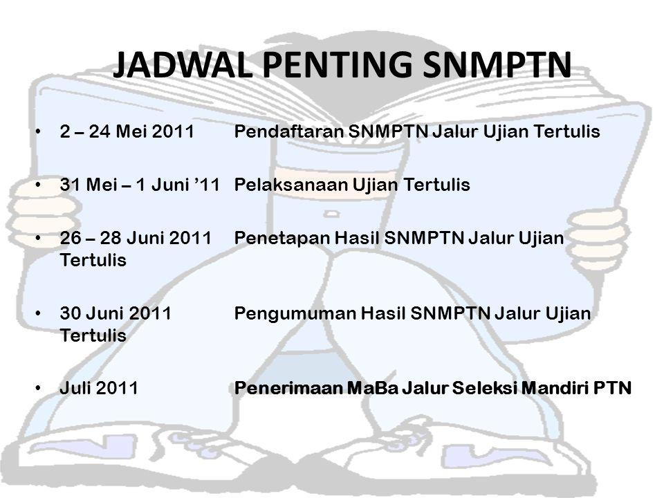JADWAL PENTING SNMPTN 2 – 24 Mei 2011 Pendaftaran SNMPTN Jalur Ujian Tertulis. 31 Mei – 1 Juni '11 Pelaksanaan Ujian Tertulis.