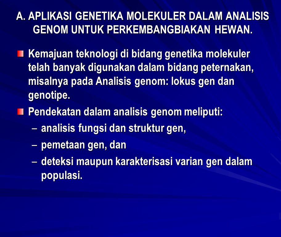 A. APLIKASI GENETIKA MOLEKULER DALAM ANALISIS GENOM UNTUK PERKEMBANGBIAKAN HEWAN.