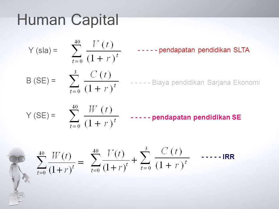 Human Capital Y (sla) = B (SE) = Y (SE) =