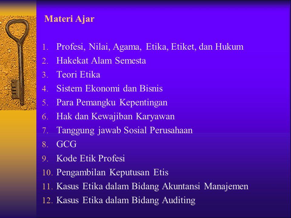Materi Ajar Profesi, Nilai, Agama, Etika, Etiket, dan Hukum. Hakekat Alam Semesta. Teori Etika. Sistem Ekonomi dan Bisnis.