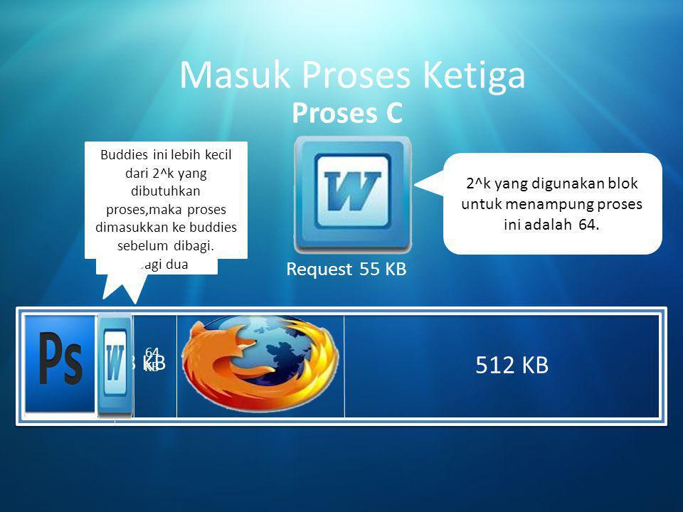 Masuk Proses Ketiga Proses C 512 KB 32 128 KB Request 55 KB