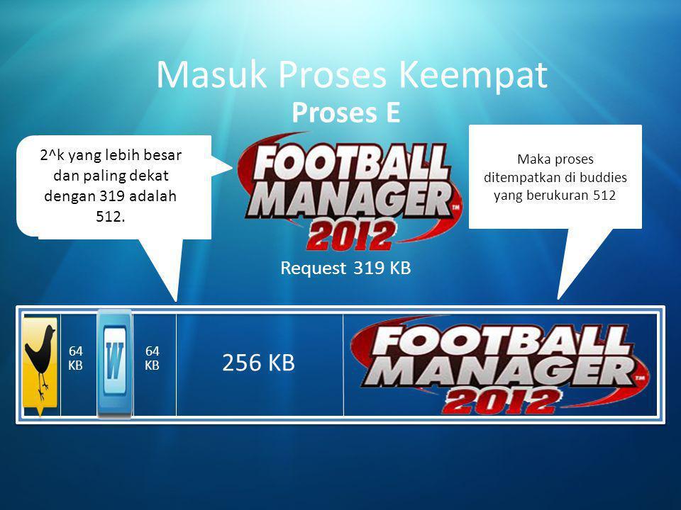 Masuk Proses Keempat Proses E 256 KB 512 KB Request 319 KB
