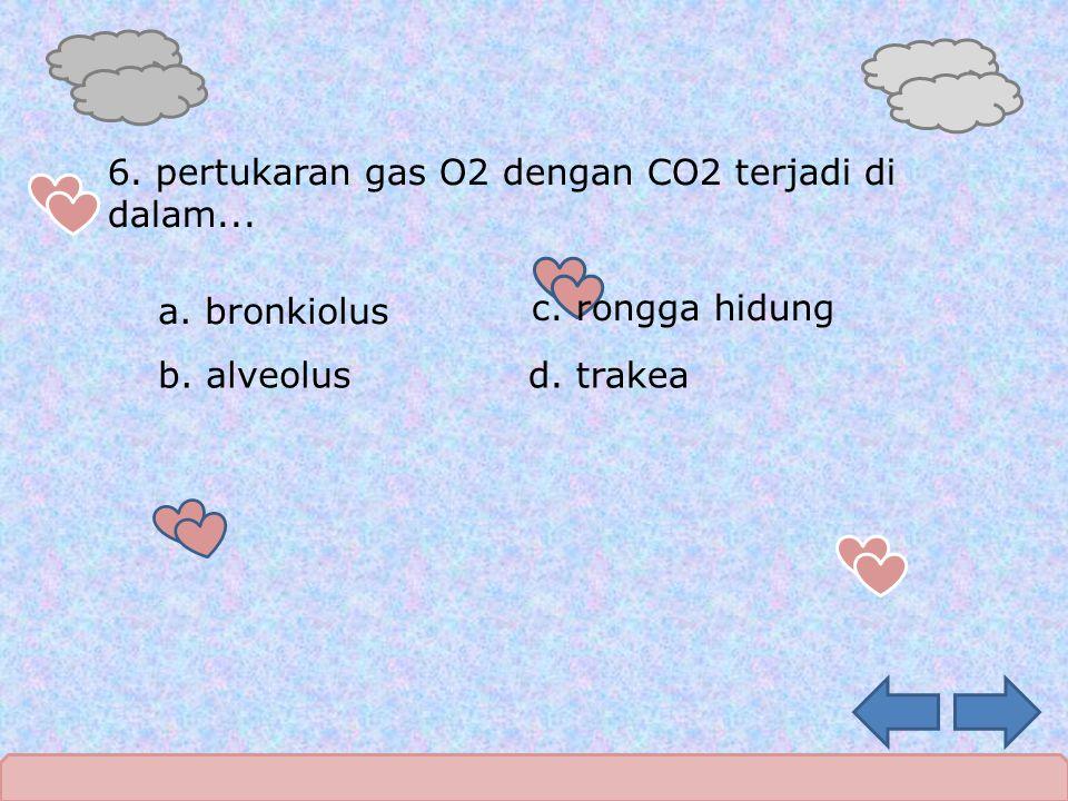 6. pertukaran gas O2 dengan CO2 terjadi di dalam...