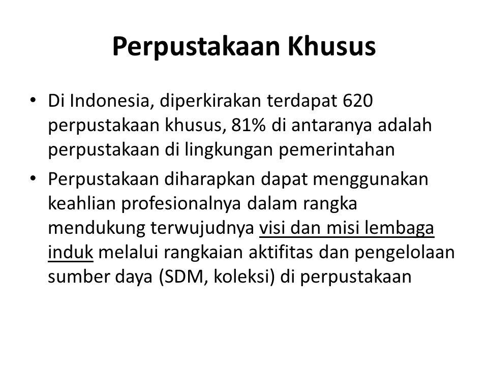 Perpustakaan Khusus Di Indonesia, diperkirakan terdapat 620 perpustakaan khusus, 81% di antaranya adalah perpustakaan di lingkungan pemerintahan.