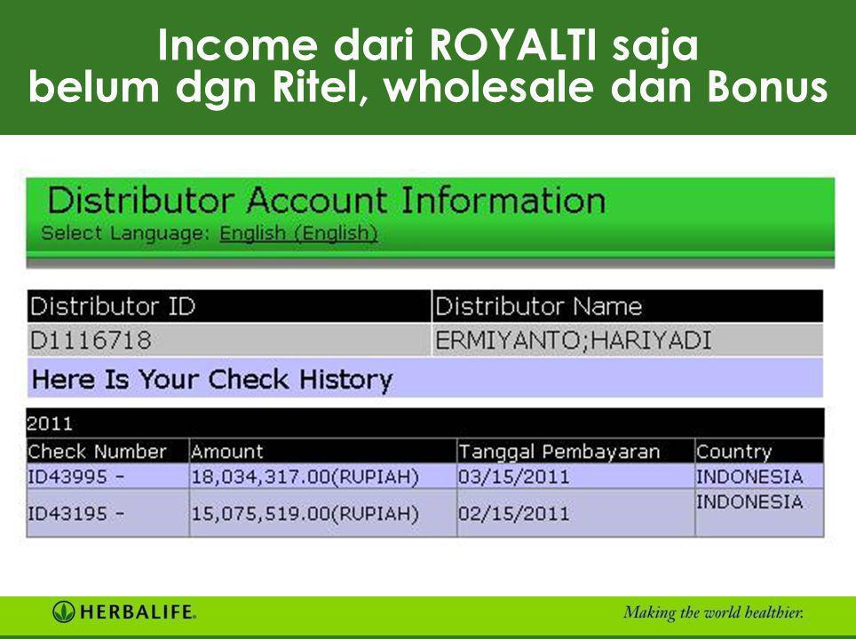 Income dari ROYALTI saja belum dgn Ritel, wholesale dan Bonus