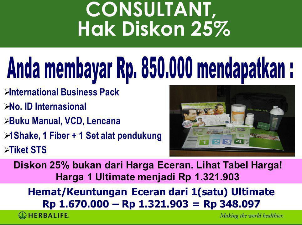 CONSULTANT, Hak Diskon 25%