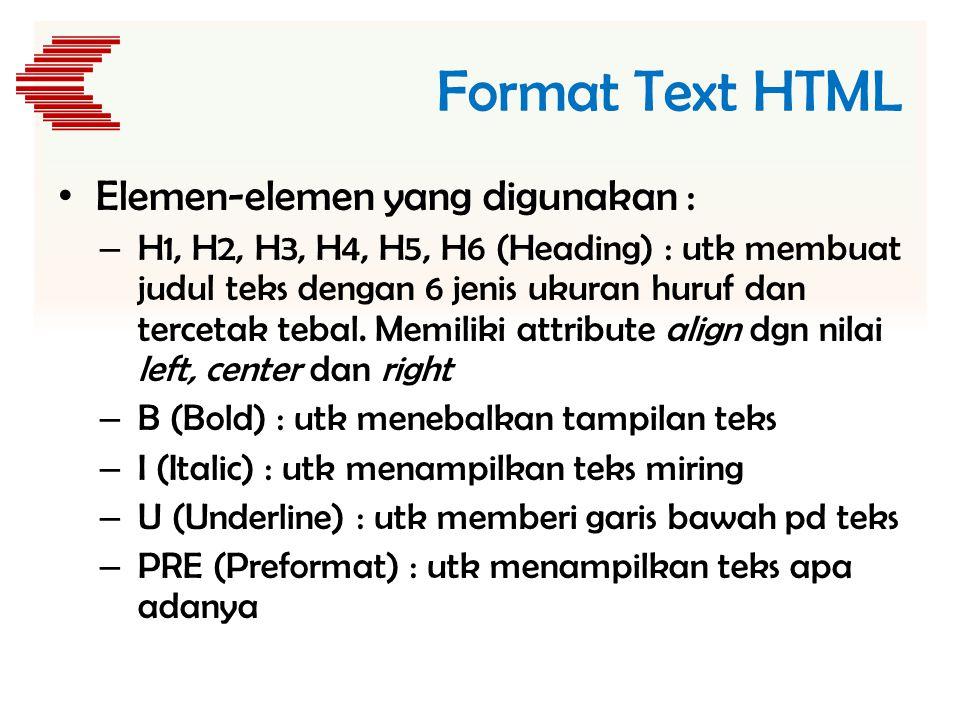 Format Text HTML Elemen-elemen yang digunakan :