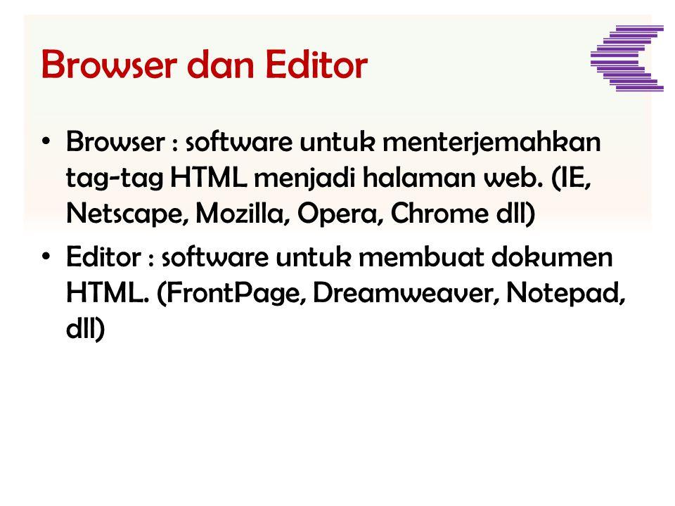 Browser dan Editor Browser : software untuk menterjemahkan tag-tag HTML menjadi halaman web. (IE, Netscape, Mozilla, Opera, Chrome dll)