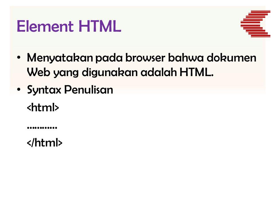 Element HTML Menyatakan pada browser bahwa dokumen Web yang digunakan adalah HTML. Syntax Penulisan.