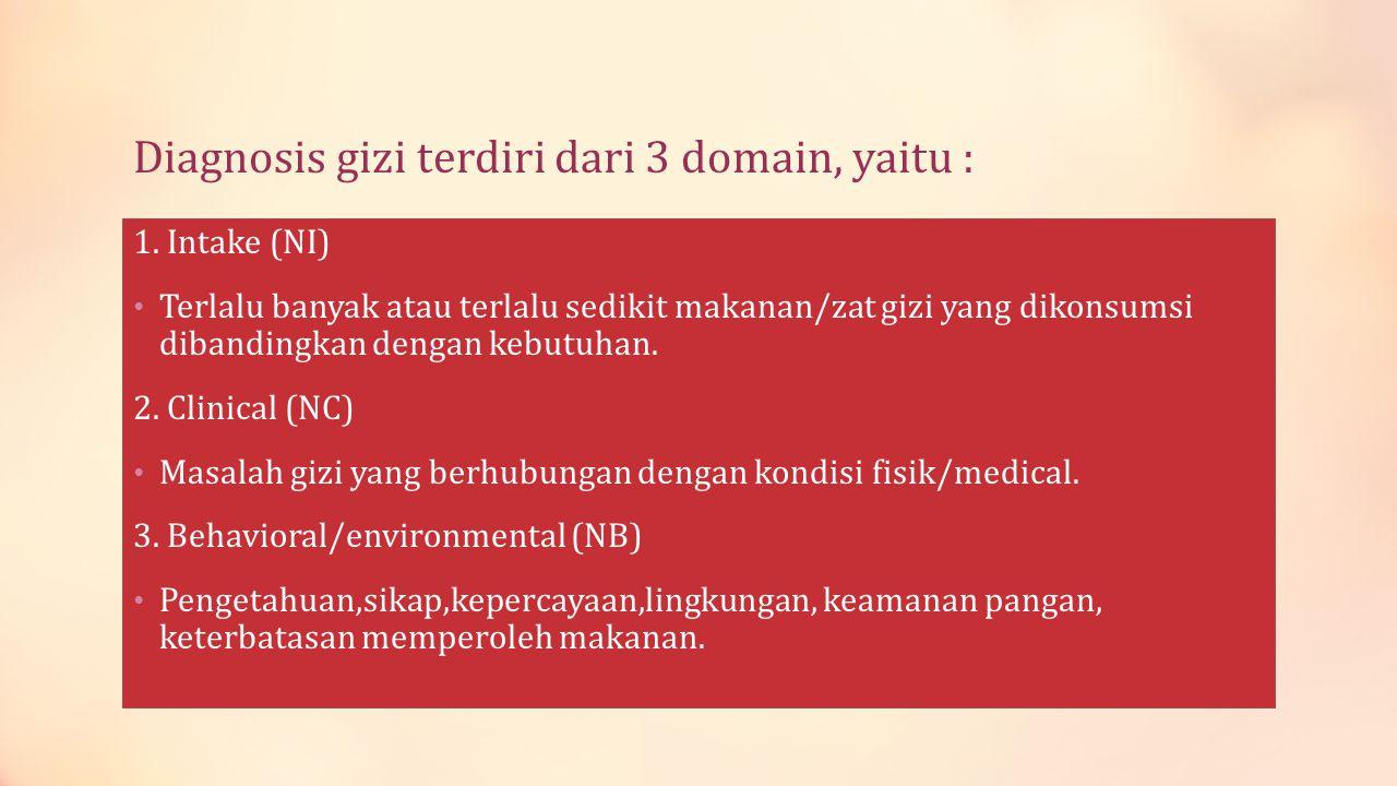 Diagnosis gizi terdiri dari 3 domain, yaitu :