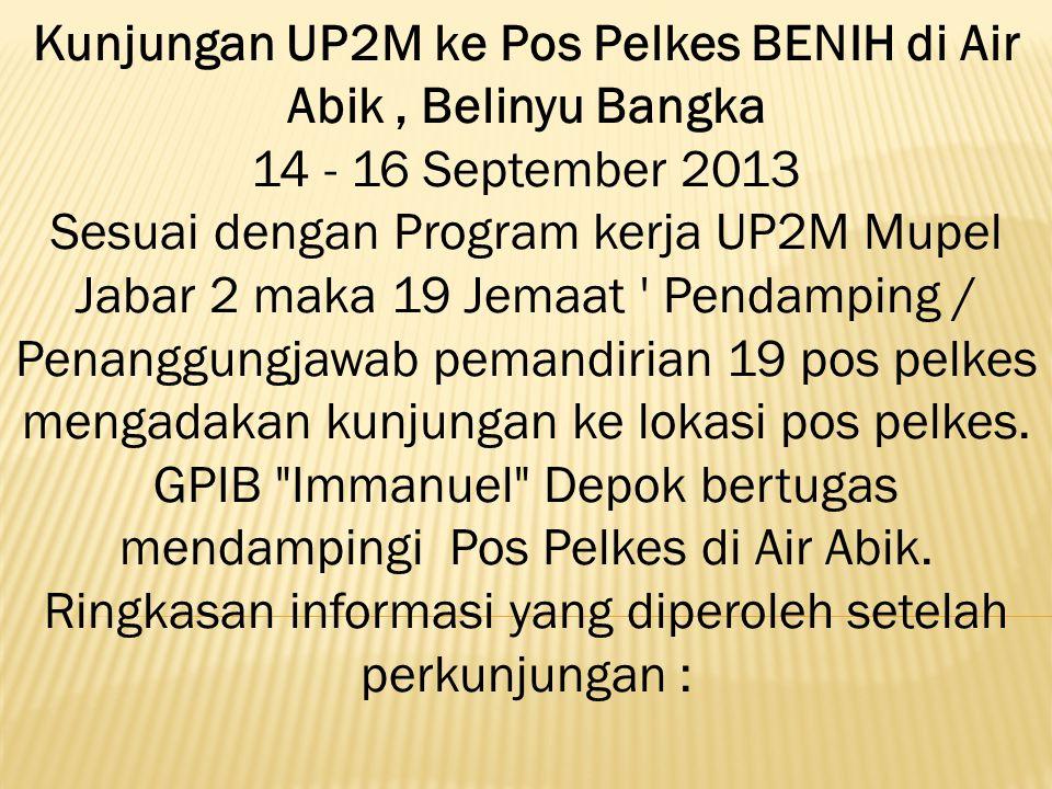 Kunjungan UP2M ke Pos Pelkes BENIH di Air Abik , Belinyu Bangka