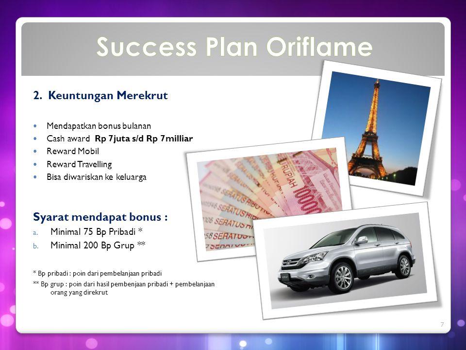 Success Plan Oriflame 2. Keuntungan Merekrut Syarat mendapat bonus :
