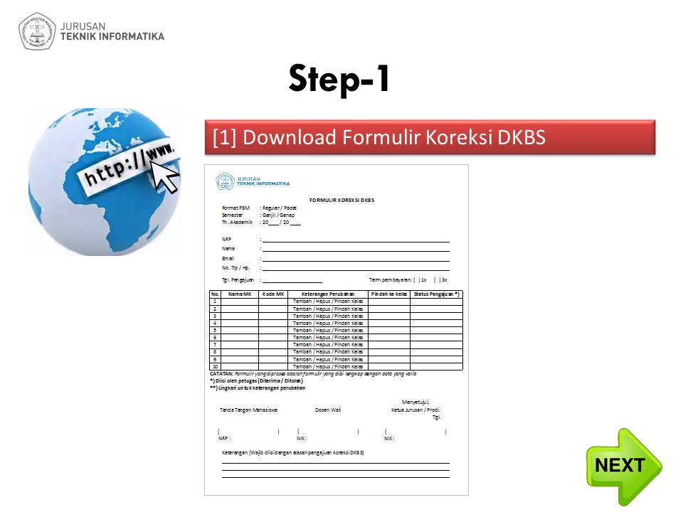 Step-1 [1] Download Formulir Koreksi DKBS