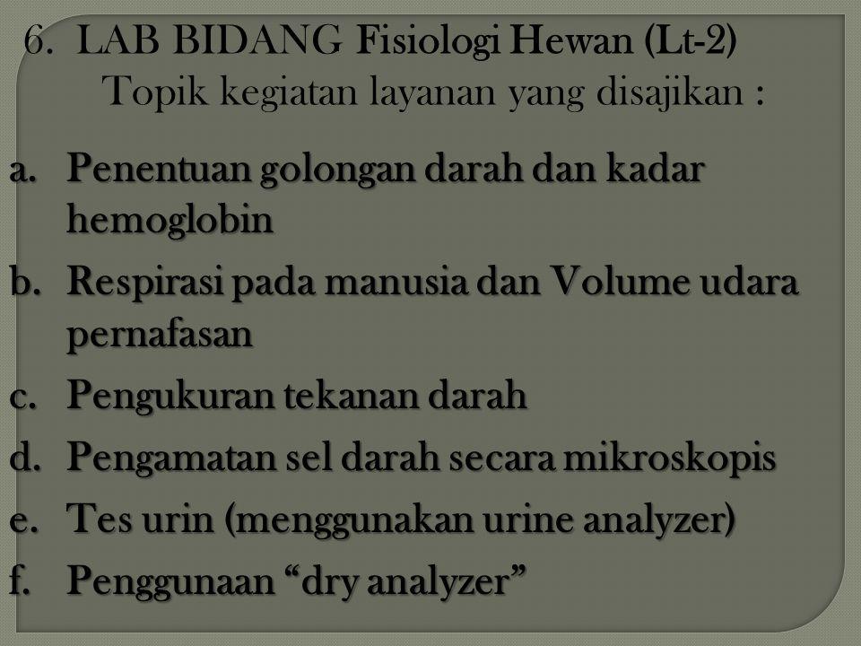 6. LAB BIDANG Fisiologi Hewan (Lt-2) Topik kegiatan layanan yang disajikan :