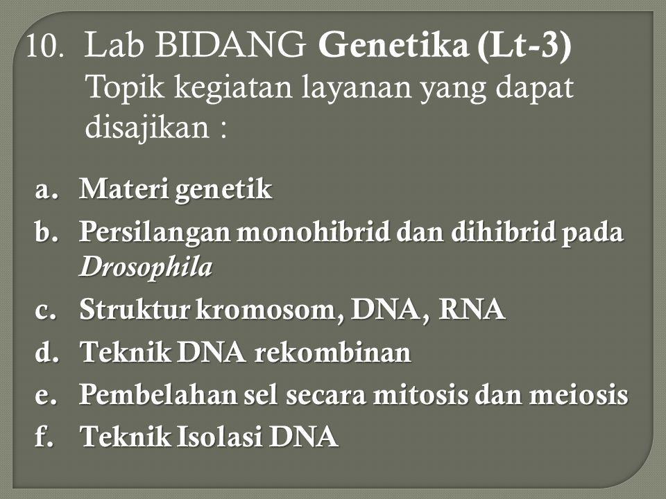 10. Lab BIDANG Genetika (Lt-3) Topik kegiatan layanan yang dapat disajikan :