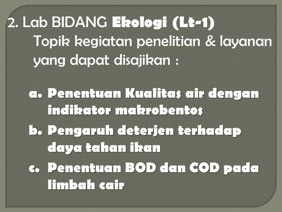 2. Lab BIDANG Ekologi (Lt-1) Topik kegiatan penelitian & layanan yang dapat disajikan :
