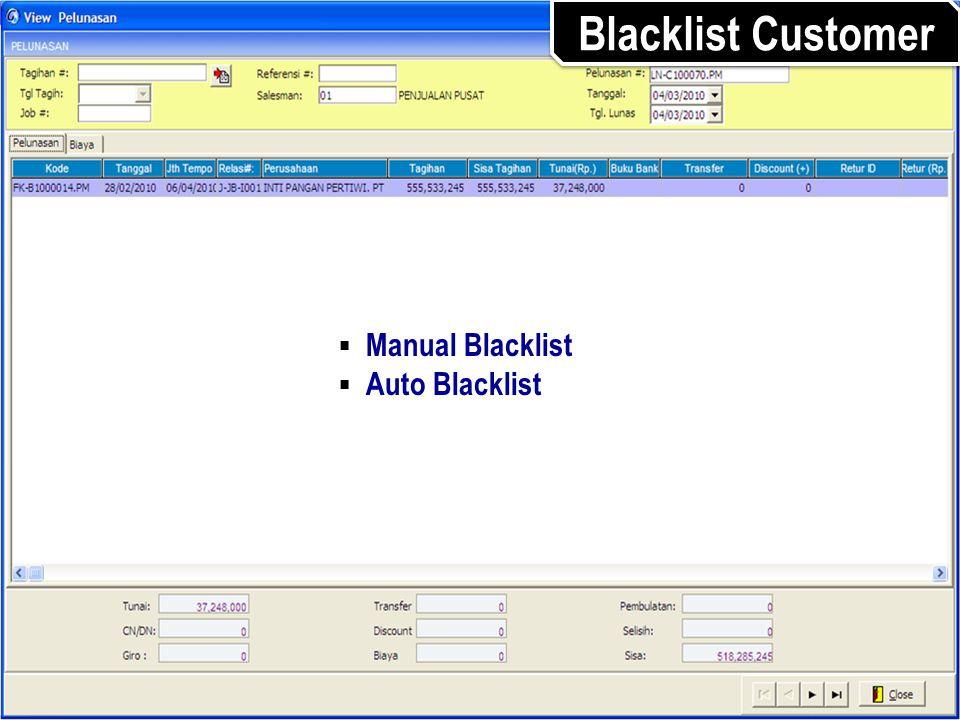 Blacklist Customer Manual Blacklist Auto Blacklist