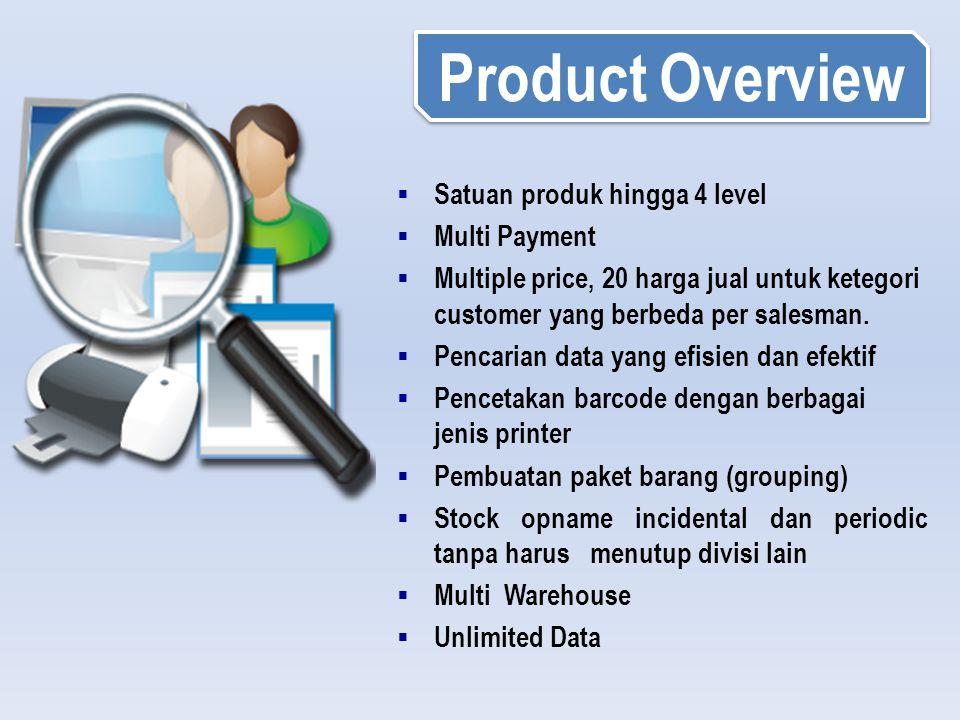 Product Overview Satuan produk hingga 4 level Multi Payment
