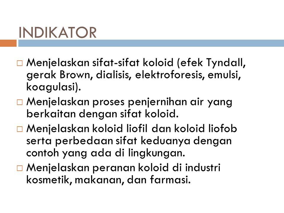 INDIKATOR Menjelaskan sifat-sifat koloid (efek Tyndall, gerak Brown, dialisis, elektroforesis, emulsi, koagulasi).