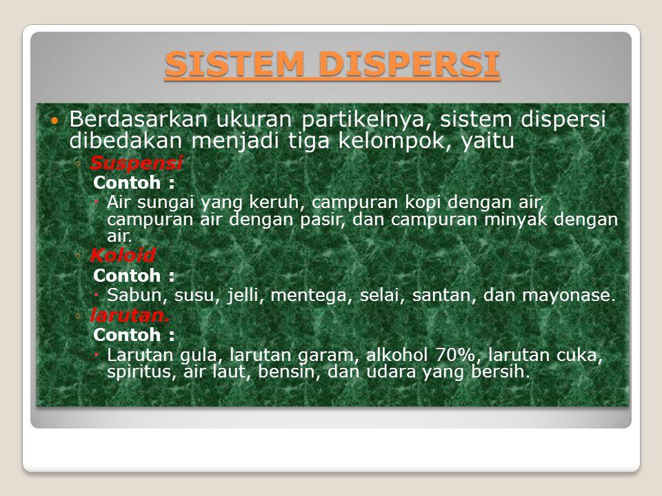 SISTEM DISPERSI Berdasarkan ukuran partikelnya, sistem dispersi dibedakan menjadi tiga kelompok, yaitu.