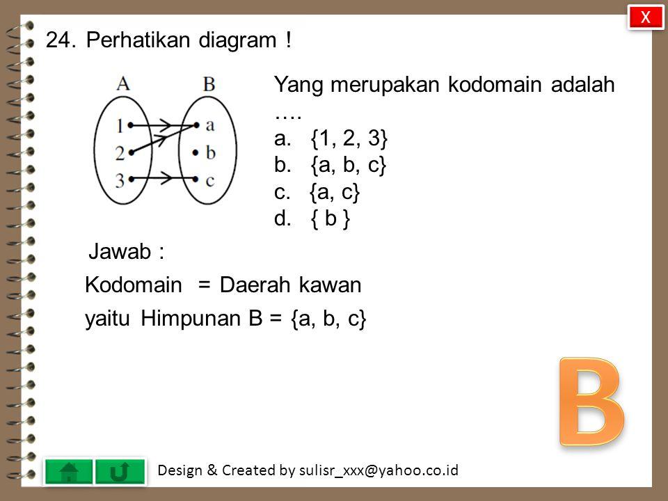 B 24. Perhatikan diagram ! Yang merupakan kodomain adalah ….