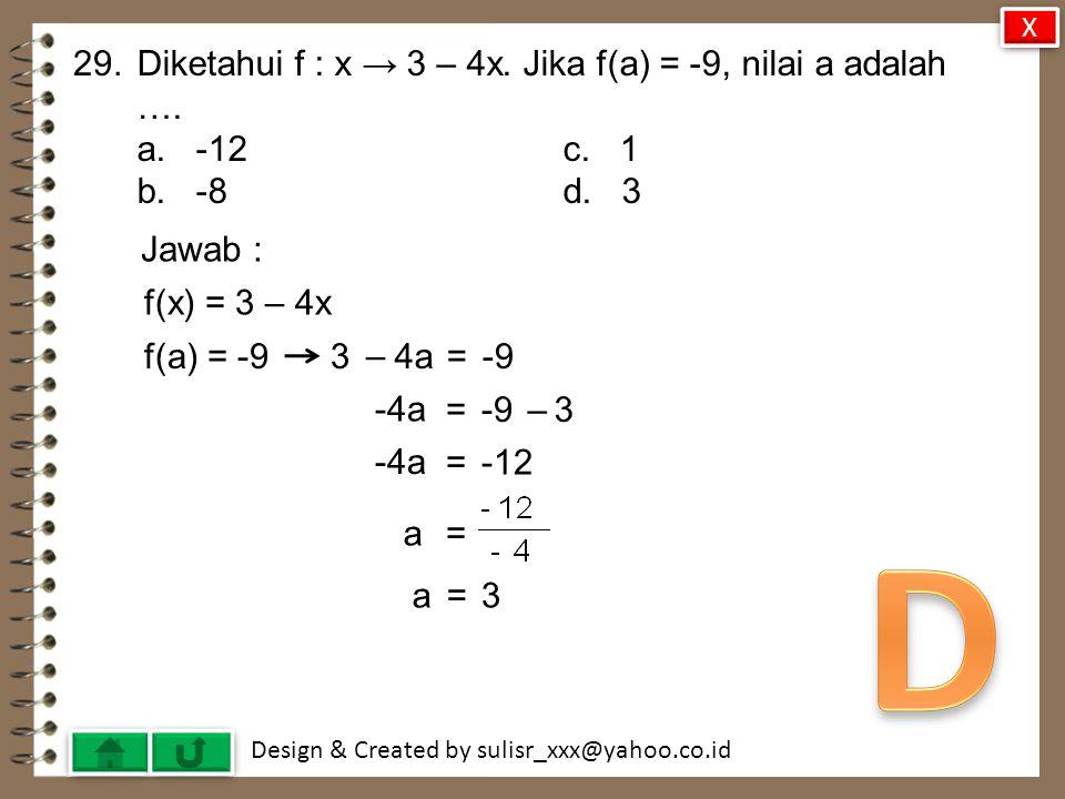 D 29. Diketahui f : x → 3 – 4x. Jika f(a) = -9, nilai a adalah ….