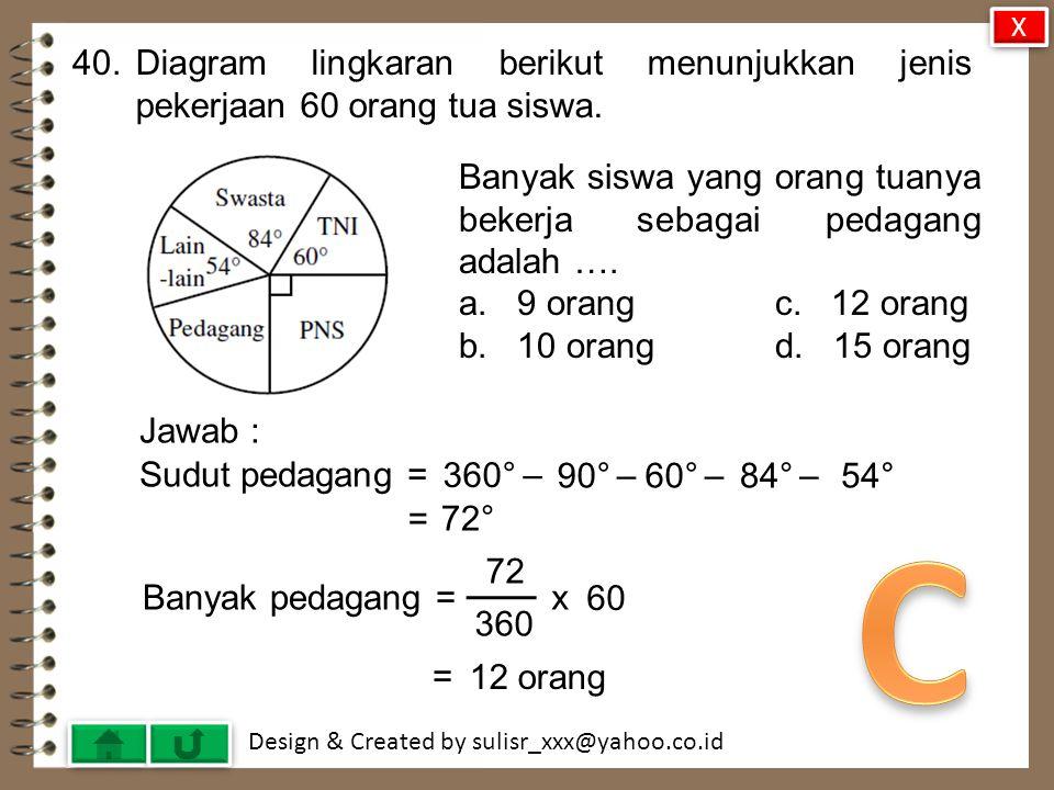 X 40. Diagram lingkaran berikut menunjukkan jenis pekerjaan 60 orang tua siswa. Banyak siswa yang orang tuanya bekerja sebagai pedagang adalah ….