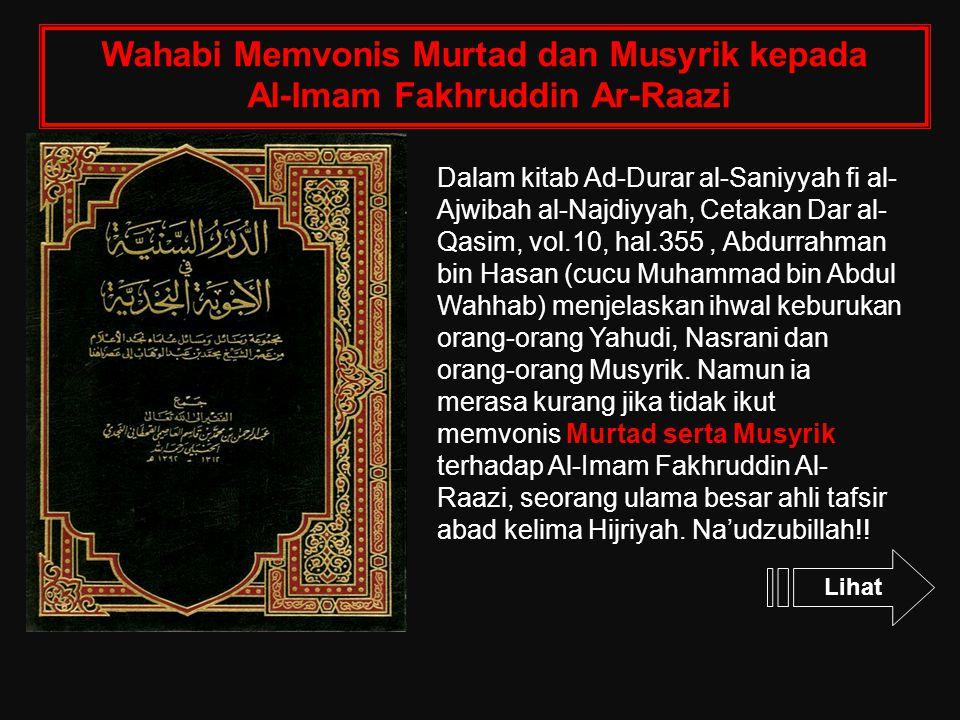 Wahabi Memvonis Murtad dan Musyrik kepada Al-Imam Fakhruddin Ar-Raazi