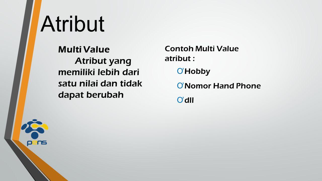 Atribut Multi Value. Atribut yang memiliki lebih dari satu nilai dan tidak dapat berubah. Contoh Multi Value.