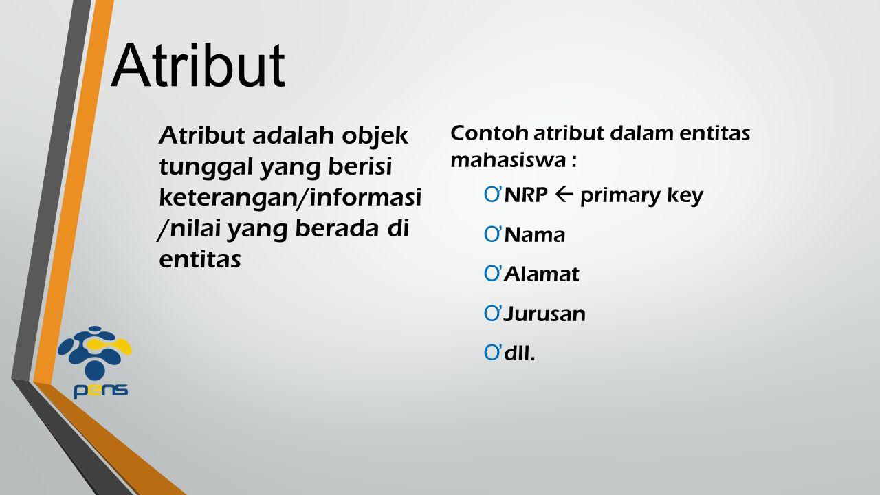 Atribut Atribut adalah objek tunggal yang berisi keterangan/informasi/nilai yang berada di entitas.