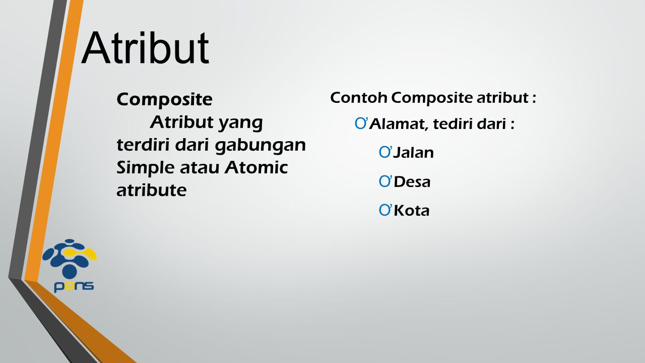 Atribut Composite. Atribut yang terdiri dari gabungan Simple atau Atomic atribute. Contoh Composite atribut :