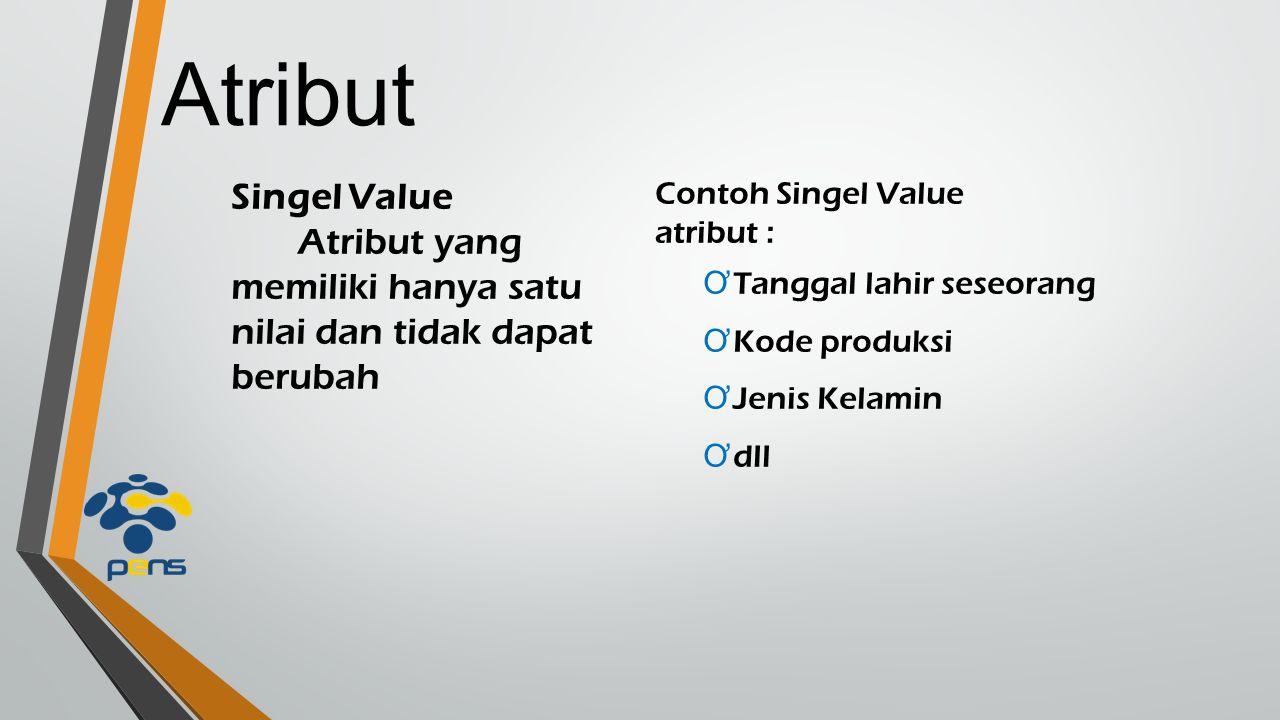 Atribut Singel Value. Atribut yang memiliki hanya satu nilai dan tidak dapat berubah. Contoh Singel Value.