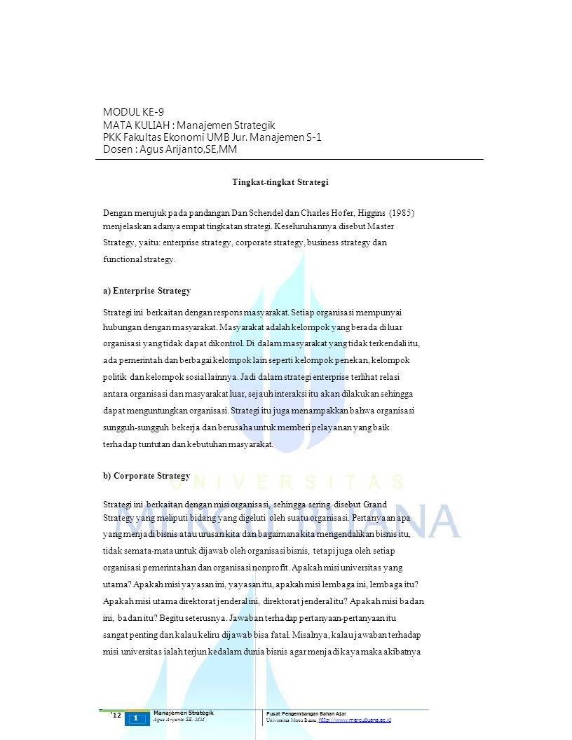 MATA KULIAH : Manajemen Strategik