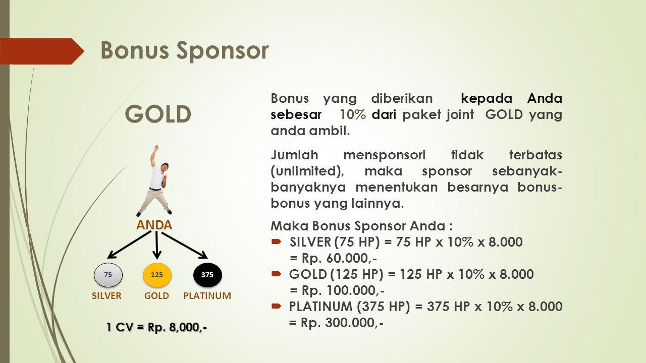 Bonus Sponsor GOLD ANDA