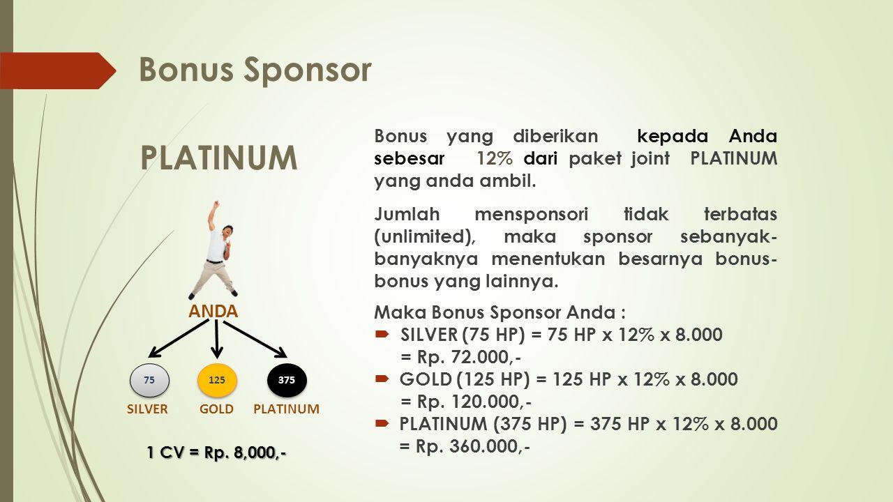 Bonus Sponsor PLATINUM ANDA