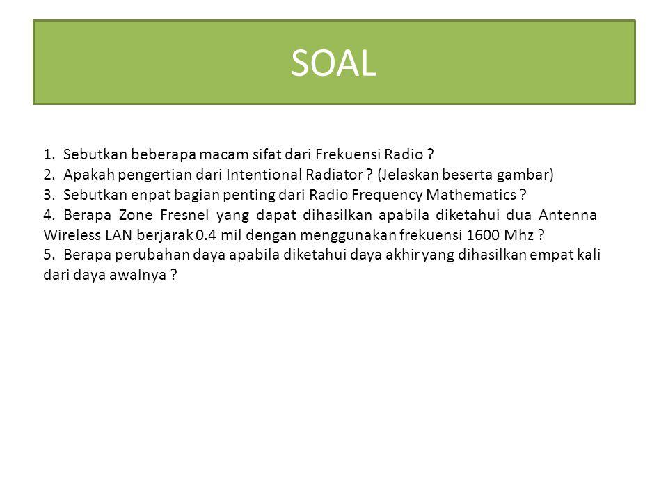 SOAL 1. Sebutkan beberapa macam sifat dari Frekuensi Radio