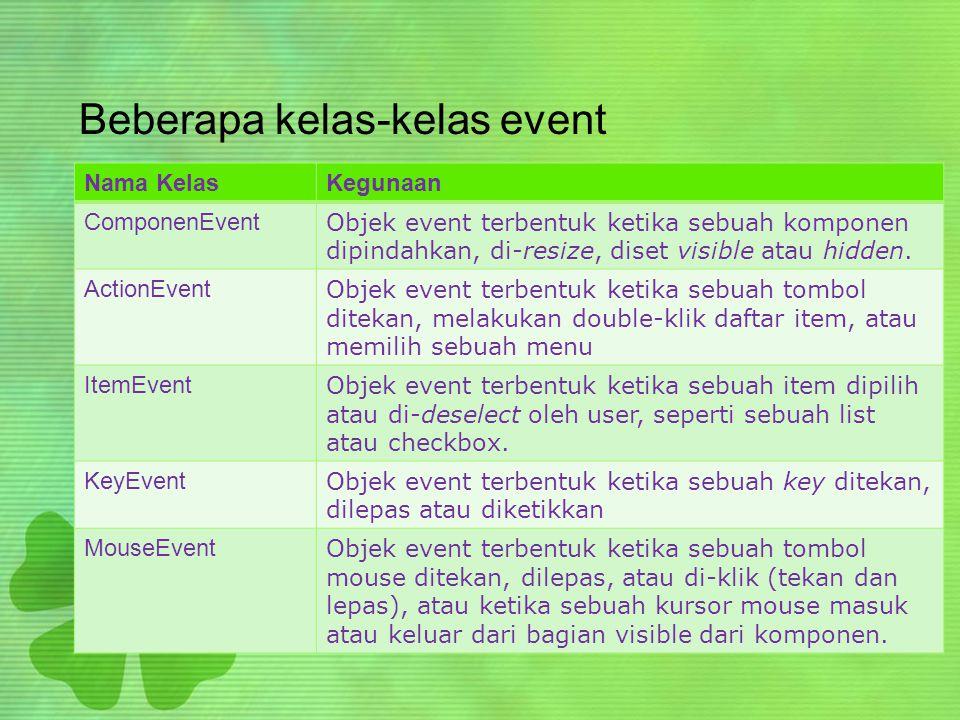 Beberapa kelas-kelas event