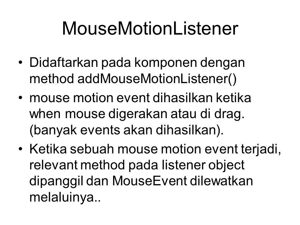 MouseMotionListener Didaftarkan pada komponen dengan method addMouseMotionListener()