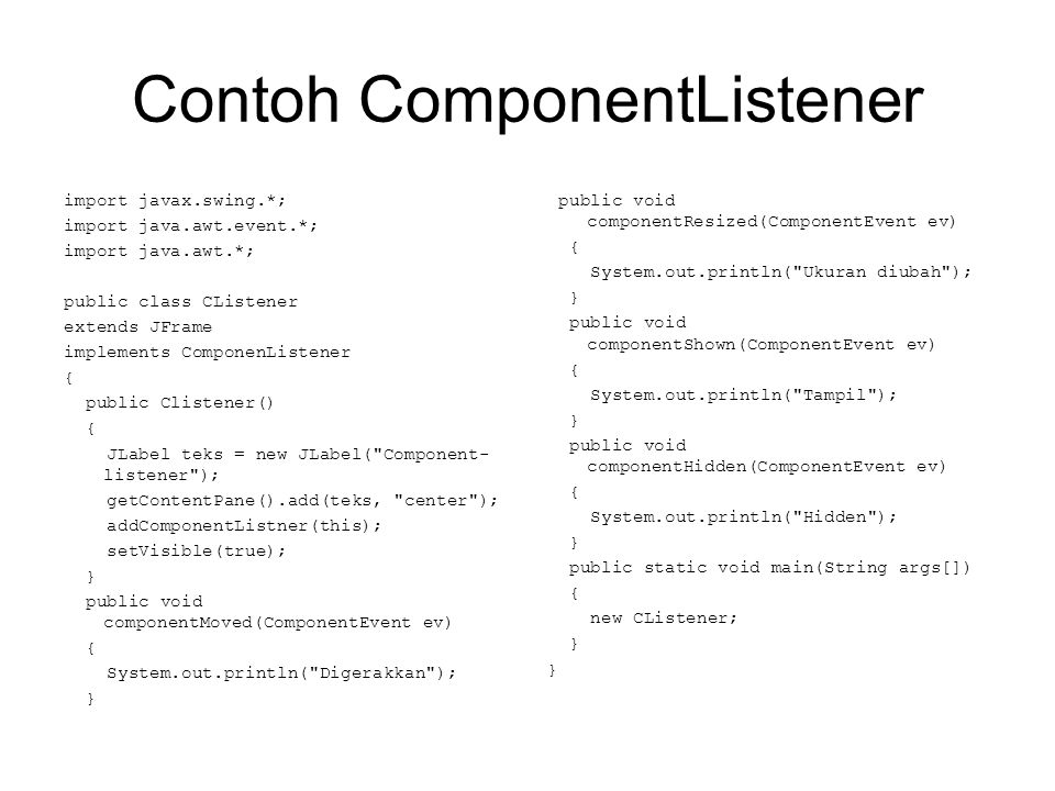 Contoh ComponentListener