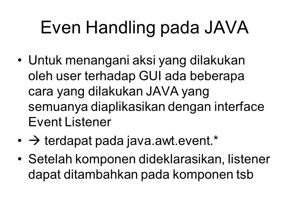 Even Handling pada JAVA