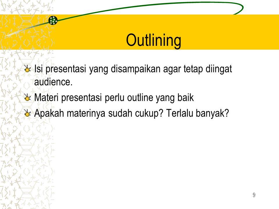 Outlining Isi presentasi yang disampaikan agar tetap diingat audience.