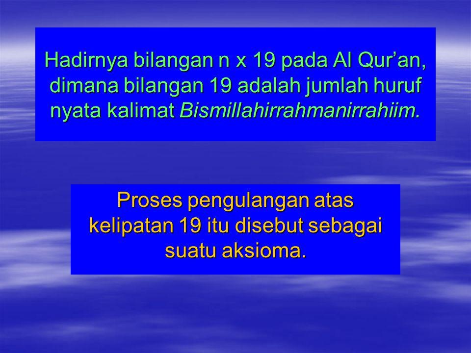 Hadirnya bilangan n x 19 pada Al Qur'an, dimana bilangan 19 adalah jumlah huruf nyata kalimat Bismillahirrahmanirrahiim.
