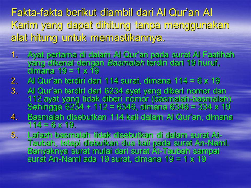 Fakta-fakta berikut diambil dari Al Qur'an Al Karim yang dapat dihitung tanpa menggunakan alat hitung untuk memastikannya.
