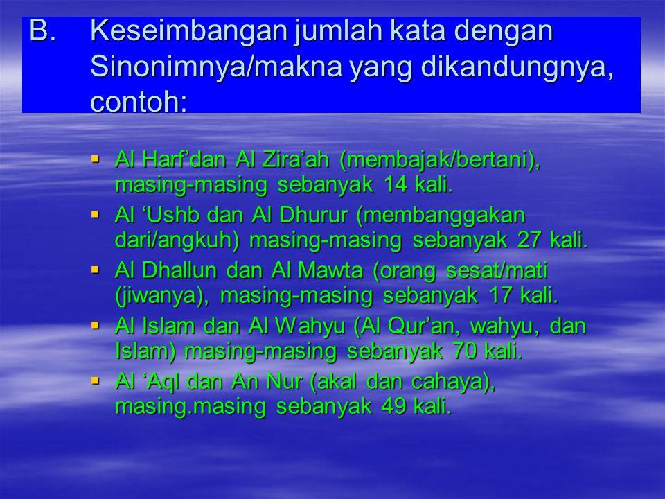 Keseimbangan jumlah kata dengan Sinonimnya/makna yang dikandungnya, contoh: