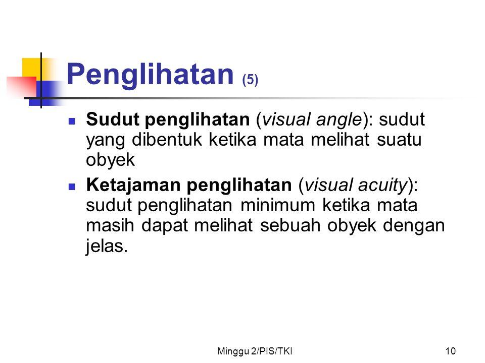 Penglihatan (5) Sudut penglihatan (visual angle): sudut yang dibentuk ketika mata melihat suatu obyek.