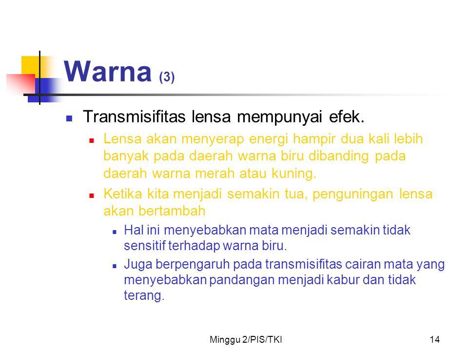 Warna (3) Transmisifitas lensa mempunyai efek.
